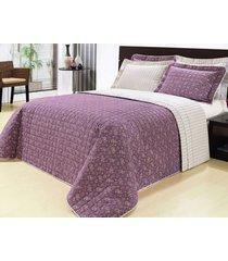 colcha / cobre leito cama super king size lilas em algodão percal 200 fios com 03 peças - cobreleito versátil - bernadete casa