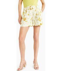 inc belted floral-print shorts, created for macy's