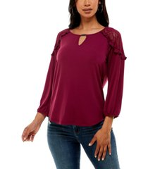 adrienne vittadini women's 3/4 sleeve lace cold shoulder top