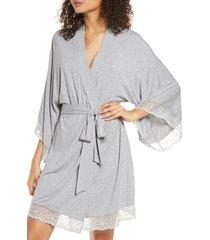 women's eberjey 'colette' kimono robe, size small - grey