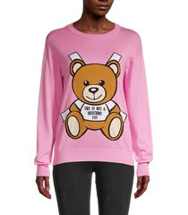 moschino women's bear logo sweatshirt - pink multi - size xxs