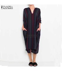 zanzea manera de las mujeres impreso de la vendimia rayada floja vestido largo negro rojo kaftan -negro
