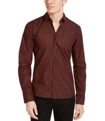 hugo men's woven dot-print shirt
