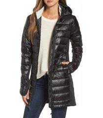 women's canada goose hybridge lite hooded packable down coat, size x-small (2) - black