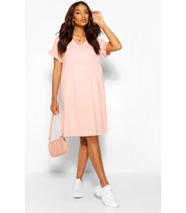 positiekleding gesmokte jurk met v-hals, blush