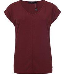 dayz aretha cupro v-hals met kapmouw top in burgundy rood