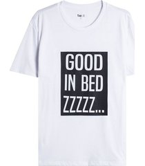camiseta descanso good in bed color blanco, talla l