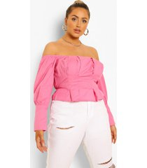 plus off shoulder peplum top met pofmouwen, candy pink