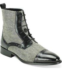 handmade men black leather boots,grey tweed fabric boot for men, formal dress bo