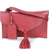 bolsa couro shoestock crossbody envelope feminina