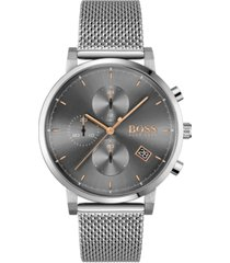 boss men's chronograph integrity stainless steel mesh bracelet watch 43mm