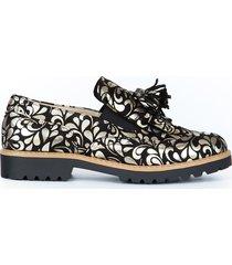 skórzane półbuty zapato 247 żłote kwiaty
