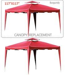 """117"""" x 117"""" gazebo replacement canopy top cover dual tier outdoor garden patio"""