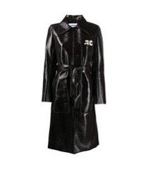 courrèges trench coat com fechamento frontal oculto - marrom