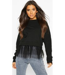 2 in 1 mesh sweat top, black