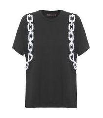 t-shirt feminina correntes - preto