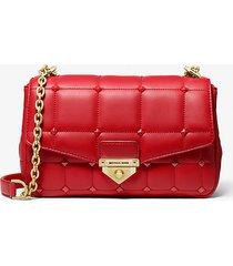 mk borsa a spalla soho grande in pelle trapuntata con borchie - rosso brillante (rosso) - michael kors