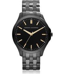 armani exchange designer men's watches, hampton black tone stainless steel men's watch