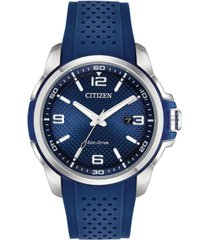 citizen drive from citizen eco-drive men's blue polyurethane strap watch 45mm