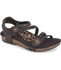 aetrex 'jillian' braided leather strap sandal, size 5 in black at nordstrom