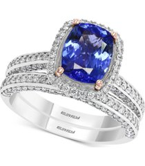 effy tanzanite (1-7/8 ct. t.w.) & diamond (3/4 ct. t.w.) ring in 14k white gold & rose gold