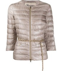 herno belted-waist quilted-down jacket - neutrals