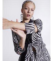 motivi giacca blazer con collo fusciacca fantasia zebra donna bianco