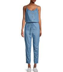 lea & viola women's drawstring jumpsuit - blue - size l
