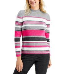 karen scott blair cotton striped rib mock-neck sweater, created for macy's