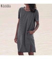 zanzea vendimia de las mujeres casual llanura camiseta del verano vestido de split hem vacaciones camisa de vestir -gris oscuro