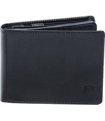 carteira em couro completa preta - porta cheque plã¡stico documentos e porta moeda preto - preto - masculino - dafiti
