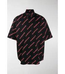 balenciaga logo-print zipped shirt