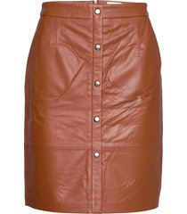 torina leather skirt kort kjol brun minus