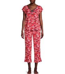 kate spade new york women's 2-piece floral pajama set - black - size s