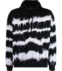 diesel tie-dye hoodie with reflective print - black