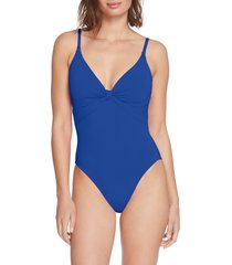 women's robin piccone olivia knot detail one-piece swimsuit, size 12 - blue