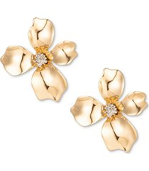 charter club gold-tone crystal flower stud earrings, created for macy's