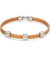 14k white gold, stainless steel, & diamond bracelet