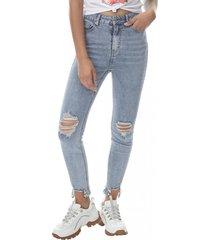 jeans skinny tiro alto mujer azul claro corona