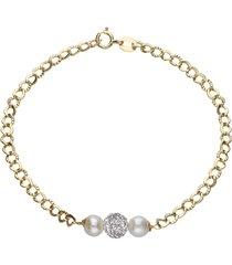bracciale in oro, perle e cristalli per donna