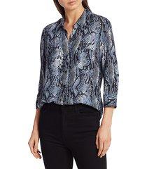 l'agence women's ryan snakeskin print blouse - blue - size xl