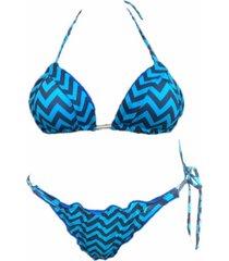 biquíni cortininha garota de luxo beachwear com tala azul verao 2018