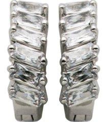 cubic zirconia huggie x-small hoop earrings in fine silver plate