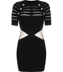 balmain sheer-panel decorative-button dress - black