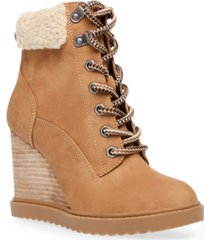 dv dolce vita sherman faux-shearling lace-up wedge booties women's shoes