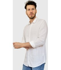 camisa brave soul ml blanco - calce regular