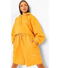 oversized korte hoodie met tekst, mustard