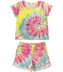 conjunto de pijama tie dye douvelin pink - amarelo/pink - menina - poliã©ster - dafiti