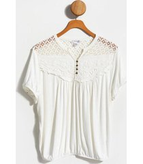 ainsley lace trim top - ivory