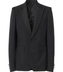 burberry crystal embellished tailored jacket - black